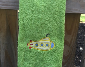 Submarine Embroidered Hand Towel, Personalized kids hand towel, Personalized towel