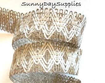 Jute Mesh Ribbon Trim, Interwoven, Ivory String Fabric on Jute, Belts, Upholstry, Floral, Clothing, Home Decor, 2 Yard, 1.5 inch, Jute Mesh