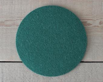 Round Felt Pad / Trivet - 6 inches - 100% Merino Wool  - 5mm Thick - German-milled - Rich, Lightfast Colors - Eco-Friendly - Dark Green