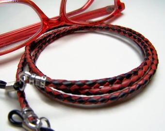 Leather Eyeglass Chain, Red/Black Braid, Cord for Glasses, Custom Made 24-36 inchs, Eyeglasses Holder, Eyeglass Chain