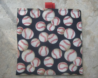 Baseball on Navy Blue  Reusable Sandwich Bag, Reusable Snack Bag, Washable Treat Bag with easy open tabs