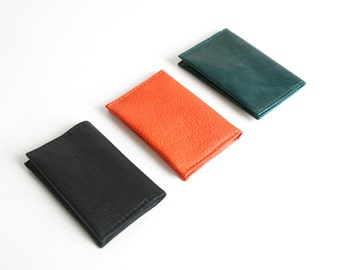 Genuine Leather Bifold Mini Wallet available im 5 colors, cardholder, card case