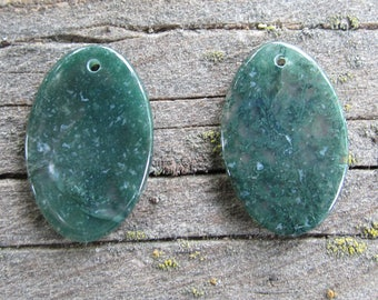 Moss Agate Earring Pair