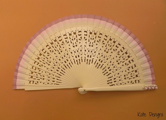 Cream Fret Fan with Pink Purple Border and Pink Purple Mulberry Flowers Fabric Hand Fan  READY to SHIP