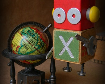 Robot Ornament - XO Bot (Green) - Upcycled Ornament - Hanging Decor by Jen Hardwick