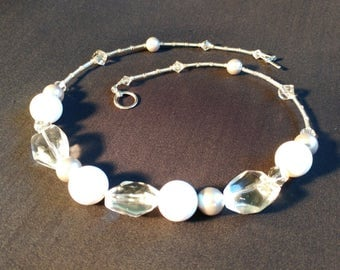 NE001931 Summery White Silver and Clear Beaded Necklace from the Kayden Line