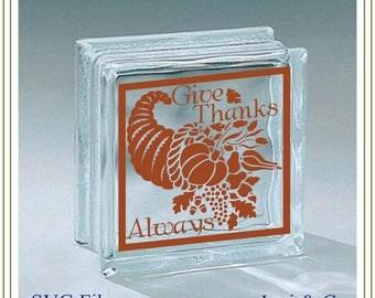 Thanksgiving SVG File, Cornucopia SVG, Glass Block Design, printing, iron on, signs for Autumn, Thanksgiving
