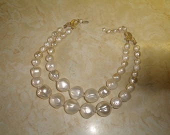 vintage necklace double link large faux baroque pearls lucite