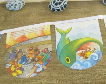 Jonah and the Whale Bunting. Big Fish Bible Banner Book Children. Room Decoration Christian Garland. White Domum Vindemia Religious Baptism