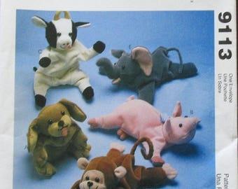 "McCall's Crafts Sewing Pattern 9113 Joanne Beretta Bambini Beanie Dolls 9"" Bean Bag Animals Puppy Pig Cow Money Elephant Uncut Factory Folds"