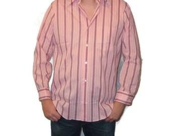 70s Pink Shirt Pink Dress Shirt New Shirt 1970s Long Sleeve Shirt Button Up Shirt 70s Pink Burgundy Shirt Pink Striped Shirt Made in Canada