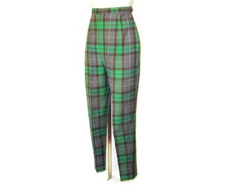 50s Tartan Trews  Womens Pants Green Gray Plaid High Waisted Pants 1950s Narrow Leg Tartan Slacks Cigarette Leg Pants Tartan Trousers