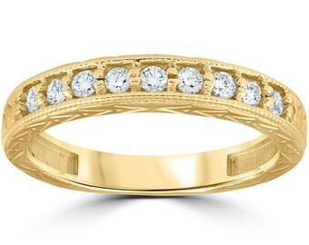 1/4ct Hand Engraved 14k Yellow Gold Diamond Wedding Ring (G/H, I1)