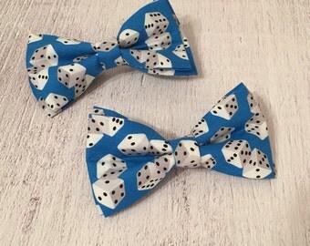 Rolling dice bowtie / blue bowtie / gambling bowtie/ Dice bowties/ Men's bowtie