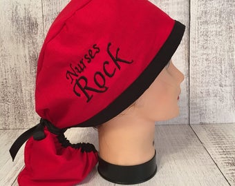 Ponytail embroidered surgical cap/Red and black surgical ponytail scrub/ surgical hat/ ponytail scrub cap