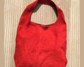 Large TOTE leather bag in crimson RED. Soft natural suede leather bag. Bohemian bag.