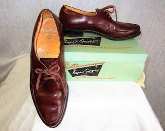 50s-60s 11 D Agnew-Surpass Leather Mens Oxford Lace up Chestnut Brown