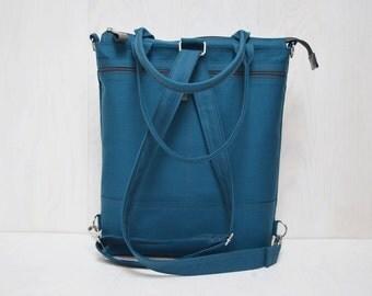 Minimalist Canvas Messenger Bag, Petrol Blue Backpack, Convertible Crossbody Zipper Bag, Vegan Functional Bag, Zipper Laptop Bag