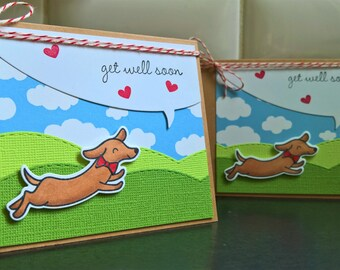 Get Well Card, Feel Better Soon Card, Dog Lover, Dachshund Card