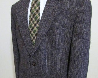 SALE INTO SPRING Vintage Mens Harris Tweed Jacket Size 42 Quality Harris Tweed Blazer-Harris Tweed Sportcoat Multi Colored Brown And Single