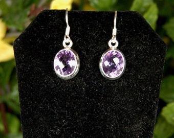 Amethyst Earrings, 4Cts+ each, Checkerboard Cut, Clear Rich Purple, Sterling Silver, February Birthstone, Amethyst Dangles, Purple Amethyst