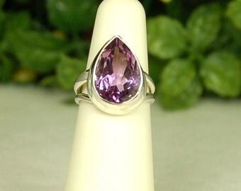 Amethyst Ring, Size 5, Pear Shape, 8.6 Cts, Purple Amethyst, February Birthstone, Sterling Silver, Natural Amethyst, Large Amethyst
