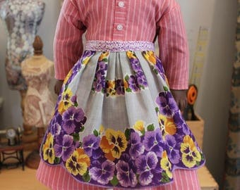 Apron Upcycled from Vintage Hanky for 18 Inch Doll, AP42