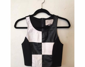 Black and White Checkered Sleeveless Top