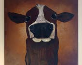 Original Cow Painting 20x20 Large art with positive vibe