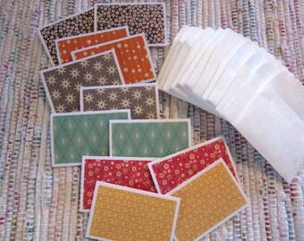 Little Note Cards and Envelopes  Set of 12  Package  #10  Retro Look