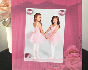 "Pink Ballerina Roses Dance Recital Ballet Dancer Girl Baby TuTu Frame handmade gift magnetic picture frame holds 5"" x 7"" photo 9"" x 11"" size"
