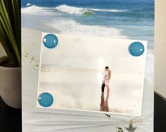 Picture Frame Magnetic Gift Home Decor Photo 5 x 7 9 x 11 Beach Tropical Honeymoon Wedding Bridal Shower Gift Bride -Footsteps in the Sand