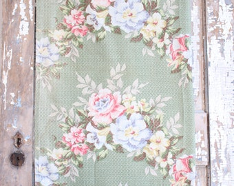 Cottage Chic Pink Floral Garland Cabbage Roses Vintage Nubby Barkcloth Fabric Drapes Drapery Panels