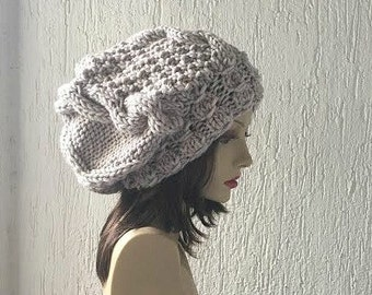 Knit Hat , Slouchy Beanie  Women Slouchy Hat , Oversized Cable Hat Chunky Knit Choose Color