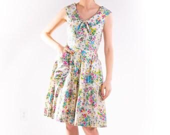 1940's Floral Cotton Sundress 40's Sailor Collar Summer Dress