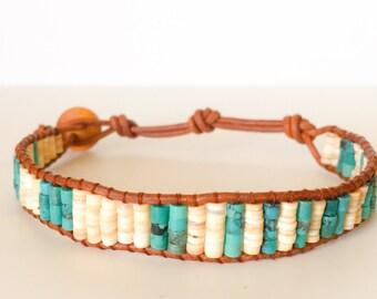 Men's Turquoise and Shell Bracelet