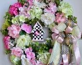 Spring Wreath, Easter Wreath, Bird House Wreath