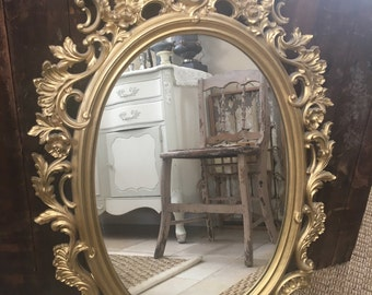 Vintage Floral Mid Century Hollywood Regency Gold Oval Detailed Wall Mirror Shabby Chic Mirror Rose Flourishes Vintage Mirror 30 3/4""