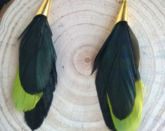 OOAK Feather Earrings - Amazon Parrot