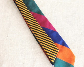 Vintage Silk Necktie, Stripped, Stripes, Mens Ties, Hand Embroidered, Ford Beckman, Wil Shepherd,Mens Ties, Neck Wear, Up Cycled,Preppy