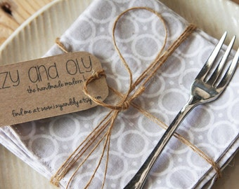 Cocktail Napkins - Grey with White Circles - Set of 4 Eco Friendly Napkins - Made and Ready to Ship