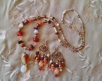 Fire agate opal necklace earring set, Silver, copper, fire agate, opal, garnet, crystal chandelier earring, pendant necklace set
