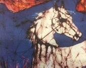 "Horse batik ""Appaloosa in Flower Field"" - mirror image fabric - Fabric art -  quilting -"