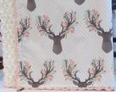 "Floral Deer minky blanket - 31"" x 36""- Going Stag in tulip- floral antler minky blanket- Girl floral Antler minky blanket- Baby shower gift"