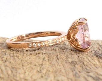 A 5.15 CT stunning  peach sapphire, Diamond engagement ring 14k rose gold ring, JULIA-1079
