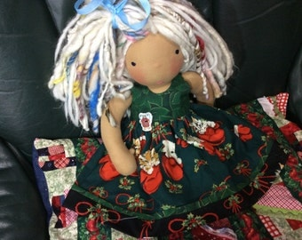 """Christmas Kitty, 16-18"""" doll clothes fit American Girl, Waldorf"""