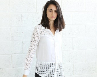 Halloween Sale Buttoned Embroidered Shirt-Embroidered White blouse .