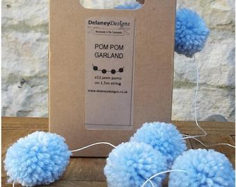 Pom Pom Garland Bunting Decoration Baby Pastel Blue