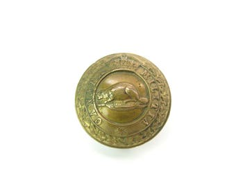 Canada Militia Button. Single Earring. Large Victorian Brass Button. Beaver, Crown. J R Caunt & Son Ltd. Montreal Antique Military 1800s