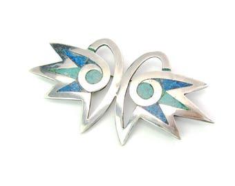 Owl Brooch. Inlaid Mosaic Bird Eyes Green Blue Stone Inlay. Los Castillo Taxco Mexico Sterling Silver. Mosaico Azteco. Vintage 1960s Jewelry
